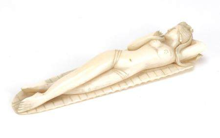 Chinese ivory carving of a deity, 13.5cm in length :For Further Condition Reports Please Visit Our