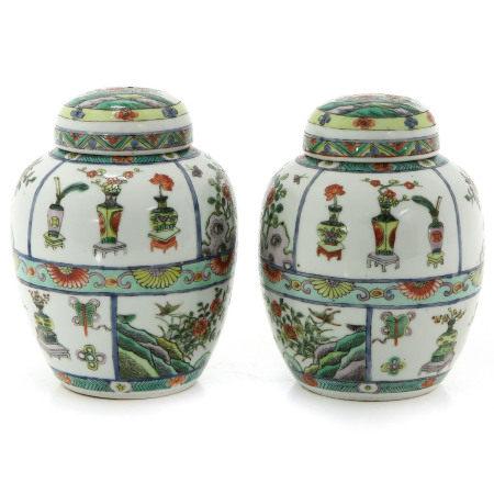 Two Famille Verte Ginger Jars