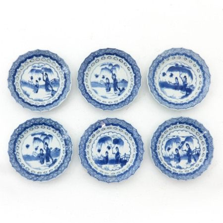 A Series of 6 Blue and White Saucers