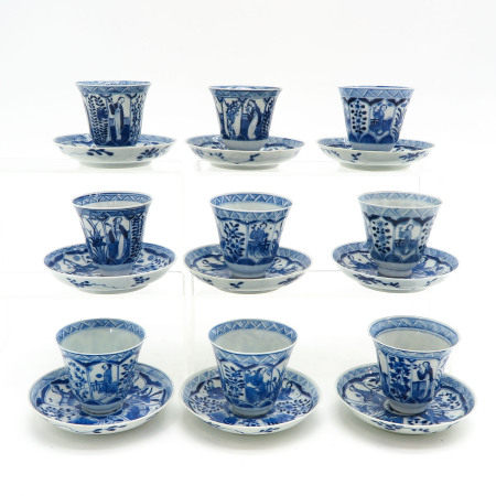 A Collection of 9 Cups and Saucers