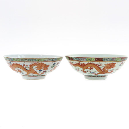 A Pair of Polychrome Decor Bowls