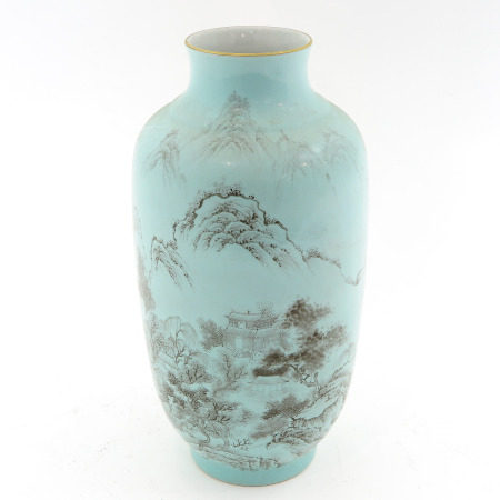 A Light Green Landscape Decor Vase