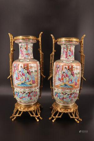 中国 - 广州镀金青铜竹纹花瓶(一对)