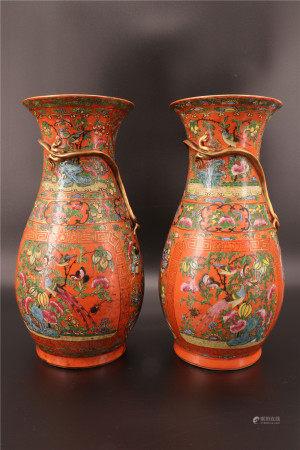 中国 - 一对广州花瓶 19世纪