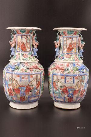 中国 - 人物纹饰石竹图对瓶 - 19世纪