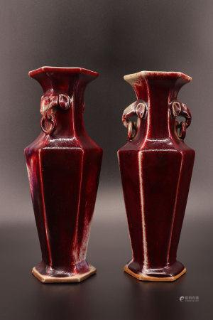 中国 - 19世纪牛血对瓶