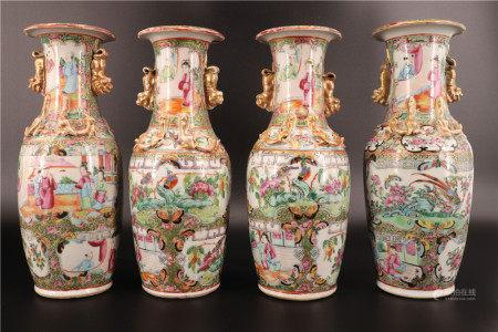 中国 - 四只19世纪广州瓷花瓶