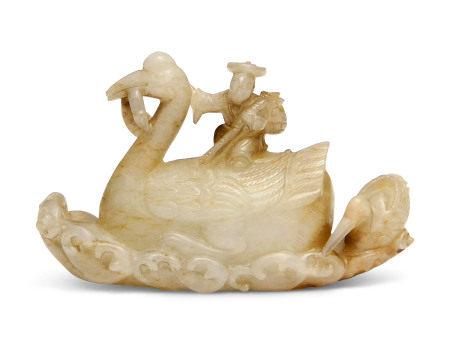 LATE MING DYNASTY (1368-1644) 晚明 青玉骑鹤摆件