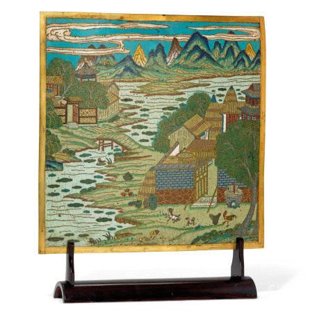 18TH CENTURY 清十八世纪 掐丝珐琅山水图方屏板