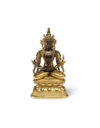 17TH-18TH CENTURY  清十七/十八世纪 鎏金铜无量寿佛坐像
