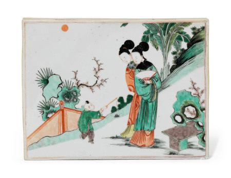 KANGXI PERIOD (1662-1722) 清康熙 五彩仕女纹牌