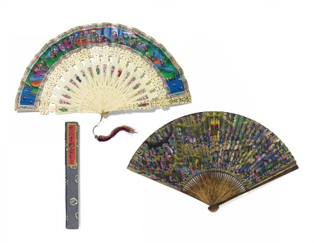 FAN WITH GENRE SCENES AND FAN FROM SHU LIAN JI WITH VIEWS OF THE WEST LAKE AND BUDDHIST TEMPLES