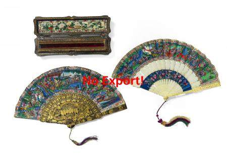 TWO FANS WITH GENRE SCENES, BIRDS AND FLOWERS