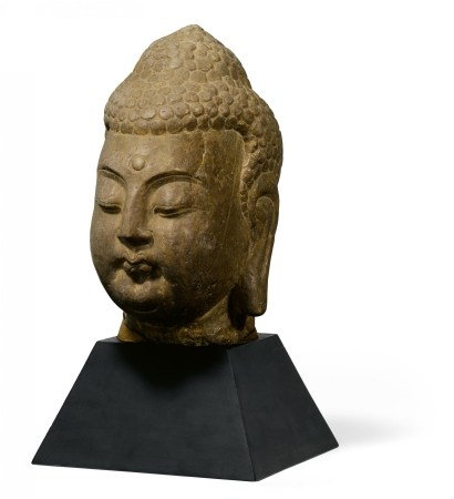 IMPORTANT LARGE HEAD OF A BUDDHA