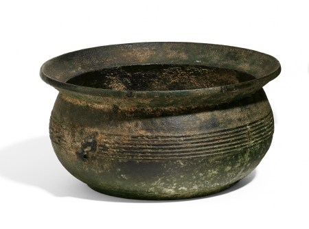 LARGE AND RARE BRONZE BASIN