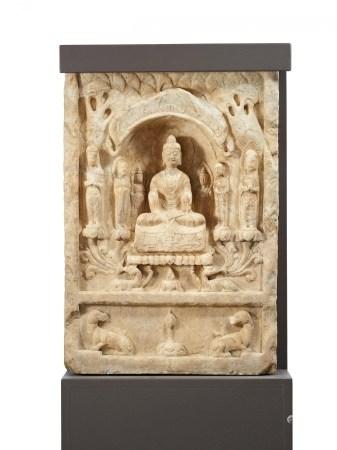 STELE WITH BUDDHA, BODHISATTVA AND MONKS