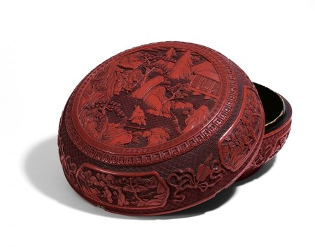 IMPORTANT BOX WITH RED CARVED LACQUER