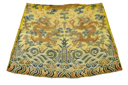 RARE FRAGMENT OF AN IMPERIAL YELLOW DRAGON ROBE