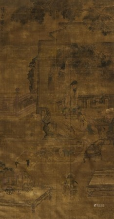 ZHANG, CHONG</b><br />Ming painter, active in the 17th c<br />In the style of<br /><br />Title: </b>Scholars Appraising Antiques and Art