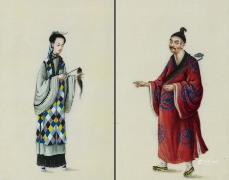 PAIR OF PAINTINGS OF DAOIST NUN AND MONK