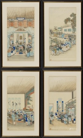 "WANG, CHENGXUN</b><br />active in the 19th c<br />attributed<br /><br />Title: </b>Set of Four Rituals for Weddings in the House ""Yu Qing Tang"""