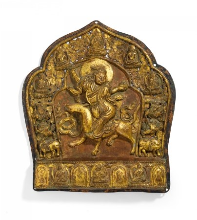 IMPORTANT RELIEF WITH FEMALE DEITY RIDING ON A WOLF
