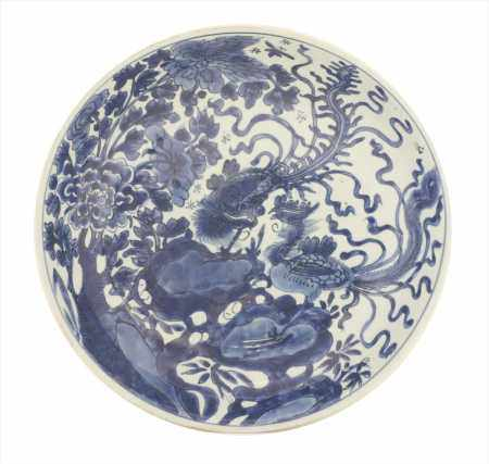 A Chinese blue and white charger,