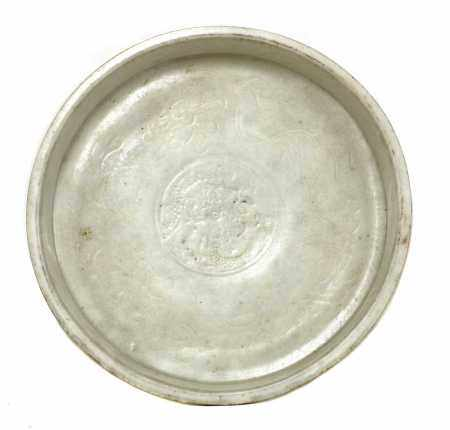 A Chinese blanc de Chine plate,