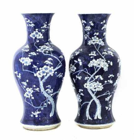 A pair of Chinese blue and white vases,