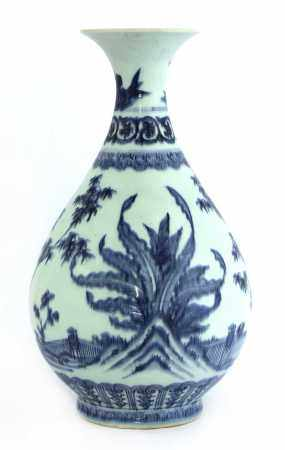 A Chinese blue and white yuhuchun vase,