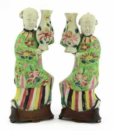 A pair of Chinese famille rose wall vases,