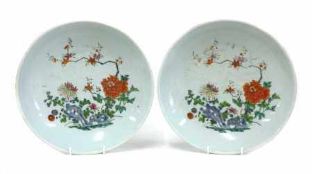 A pair of Chinese famille rose chargers,