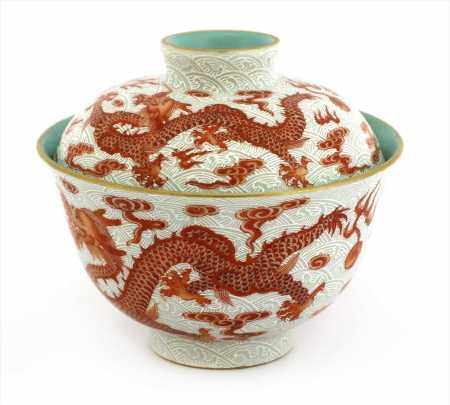 A Chinese iron-red tea bowl and cover,