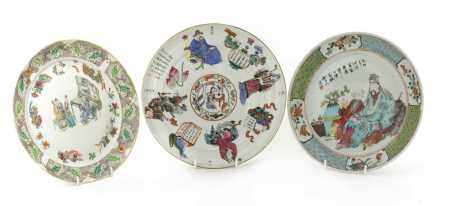 Three Chinese famille rose plates,