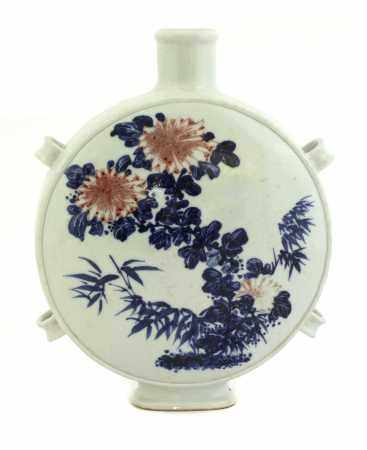 A Chinese blue and white moon flask,