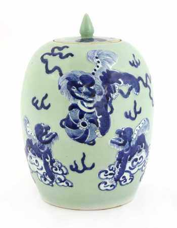 A Chinese celadon jar and cover,