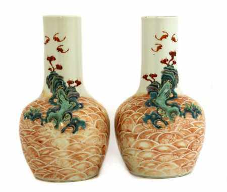 A pair of Chinese famille rose bottle vases,