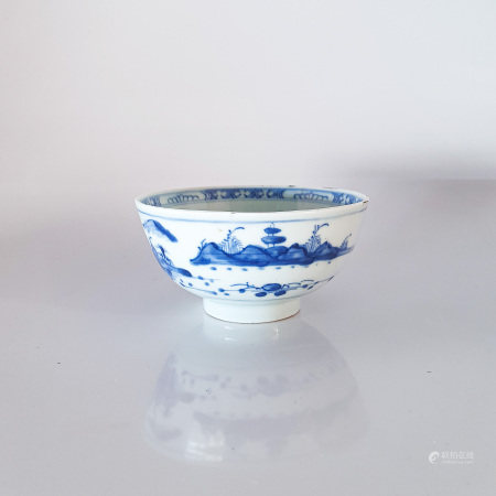 A CHINESE BLUE AND WHITE 'LANDSCAPE' BOWL, QING DYNASTY, QIANLONG, 1735 – 1796 Painted to the
