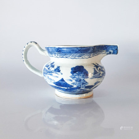 A CHINESE BLUE AND WHITE JUG, QING DYNASTY, 18TH CENTURY The compressed globular body rising from
