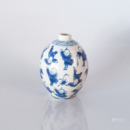 A CHINESE BLUE AND WHITE 'THOUSAND BOYS' MINIATURE VASE, QING DYNASTY, 18TH - 19TH CENTURY The ovoid