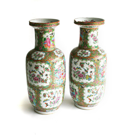 A PAIR OF CHINESE FAMILLE ROSE 'MANDARIN PATTERN' VASES, QING DYNASTY, LATE 19 CENTURY Each