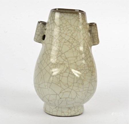 A Chinese porcelain 'Song' style twin handled vase, with crackleware glaze, height 18cm