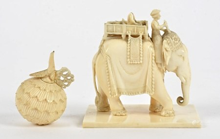 Two ivory and bone objet d'art, the first a study of an elephant with riders, height 6.5cm, a/f with