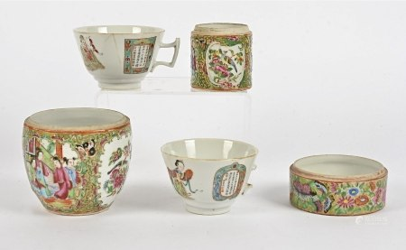 Three 19th Century Chinese Canton Famille Rose decorated jars, all lacking lids, together with a