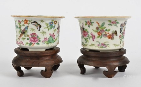 A near pair of 19th Century Chinese Famille Rose plant pots, of miniature size, decorated with