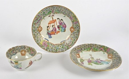 A 19th Century Chinese Canton teabowl and a pair of matched shallow shaped dishes, teabowl AF,