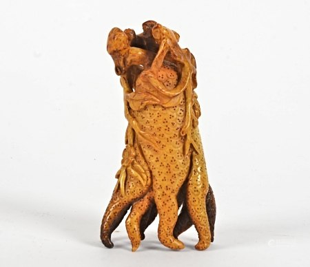 A Chinese carved wood objet d'art of naturalistic form, 11.5cm x 6cm,