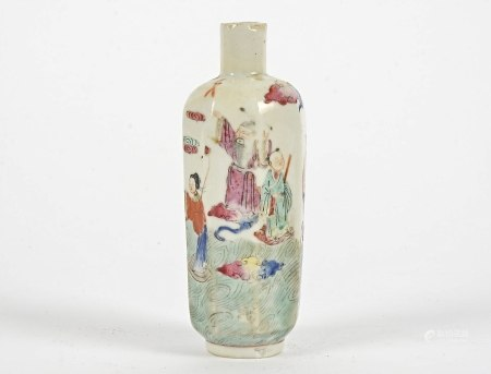 A Chinese porcelain bottle of octagonal form, the sides handpainted with a design of the eight