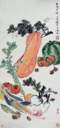 Wang Xuetao (1903-1982) vegetables and fruit, scroll, ink on paper with artists seal marks 99cm x