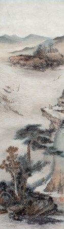 Katherine Talati (1922-2015) Da Shunming (Chinese name) river scene, mounted scroll, ink on paper